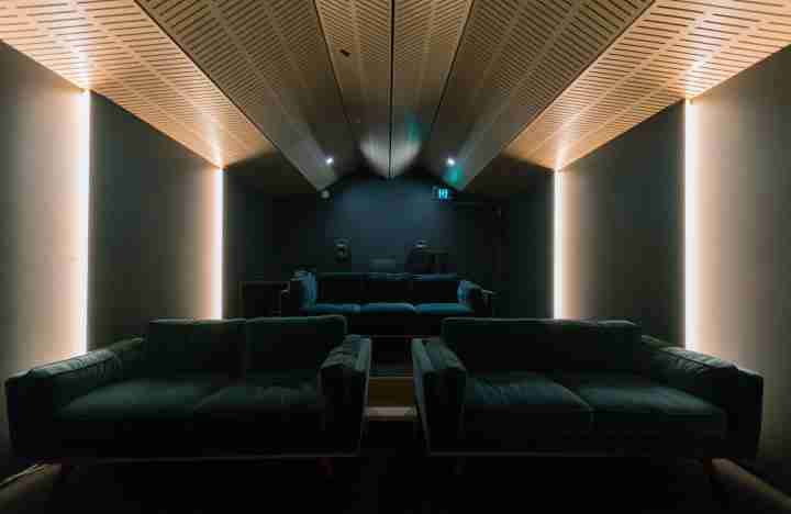 ID Wrestler cinema room couches lighting